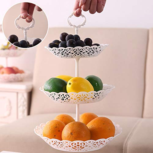 LLJEkieee 3-Tier Cake Stand Cupcake Dessert Wedding Event Party Display Tower Plate Round as a Cupcake Stand, Dessert Stand or Serve for Fruit and other Sweet Treat40x25.5cm