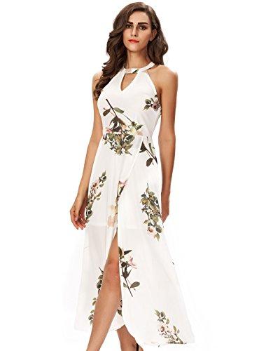 Noctflos Women's Floral Halterneck Keyhole Slit Cocktail Party Maxi Dress XL