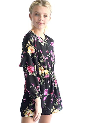 Smukke, Big Girls Gorgeous Printed Romper (with Options), 7-16 (14, Black -