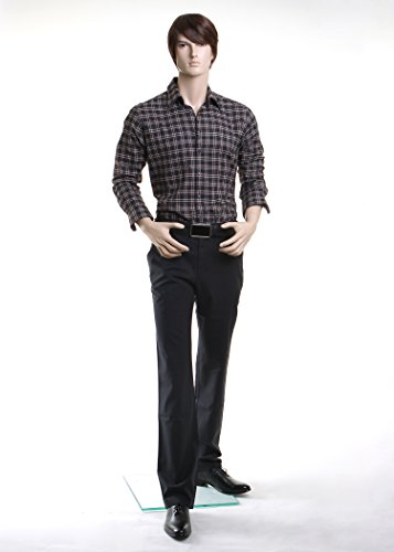Realistic Standing Male Adult Mannequin + Base w/Wig