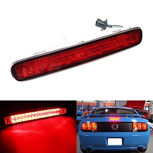 iJDMTOY Red Lens LED 3rd Brake Light For 2005-2009 Ford Mustang, Powered by 16 Super Bright Red LED Emitters