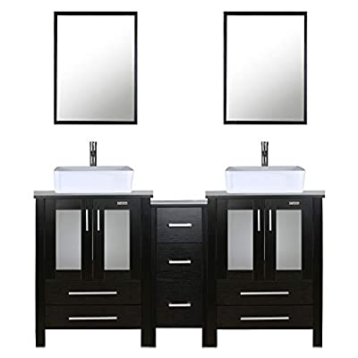 """eclife 60"""" Bathroom Vanity Sink Combo Black W/Side Cabinet Vanity White Ceramic Vessel Sink and Chrome Bathroom Solid Brass Faucet and Pop Up Drain, W/Mirror (T03 2B02) - ✔WATER SAVE: 1.5 GPM faucet aerator help to save 30% water; 3/8'' Connector Hot/Cold Water supply hose; 23-5/8"""" Long water supply lines; Durable Chrome faucet; Pop up drain. ✔ECO-FRIENDLY: MDF eco-friendly material used to make vanity more durable and sturdy; 15mm Thickness and smooth surface board, easy to clean and wear-resistance. ✔EASY to INSTALL: Need to be self-assemble, delicate design make it easy to assemble; Including maximized storage; 7 drawers, more convenient and flexible for you to use. - bathroom-vanities, bathroom-fixtures-hardware, bathroom - 41BXQrsmSAL. SS400  -"""