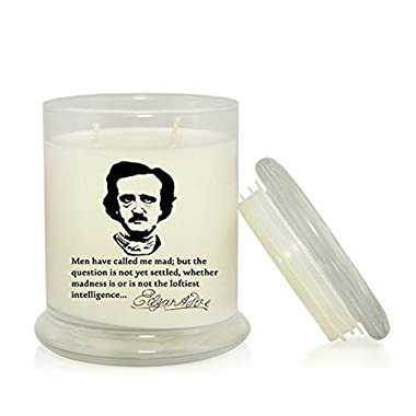 Men Have Called Me Mad 8.5 oz. Soy Candle - Edgar Allan Poe Quote - Madness - Macabre - Gothic - Bookish Gifts - Book Lover Candles - Literary Gifts - Very Vanilla Scent