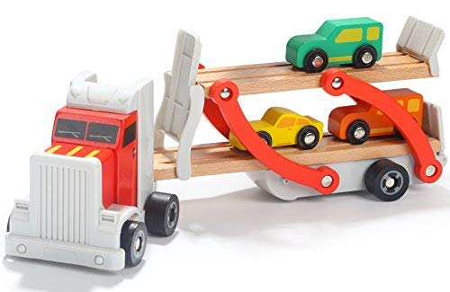 Wooden Car Transporter Toy Double Decker Trailer with 4 Cars ramp Racer - Wooden car Toy Truck Carrier for 3 Years Old Boys Vehicle Toys for Kids ()