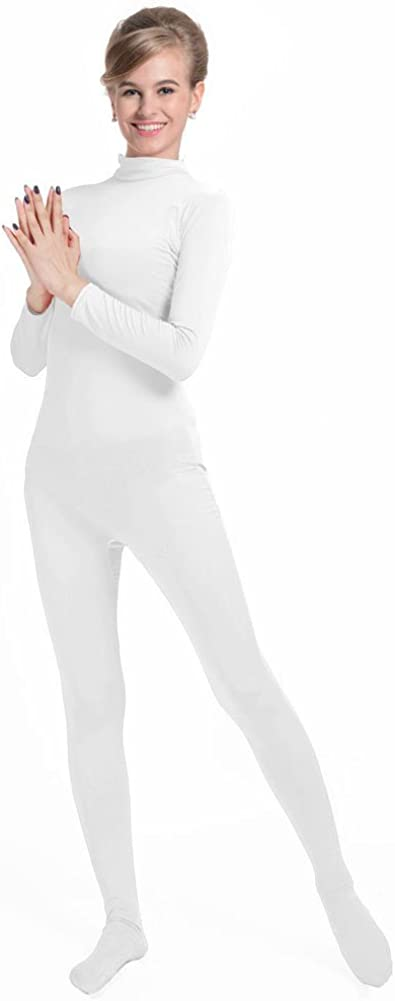 QY Adult Lycra Spandex Unitard Mock Neck Long Sleeves Full Foot Elastane Bodysuit Leotard