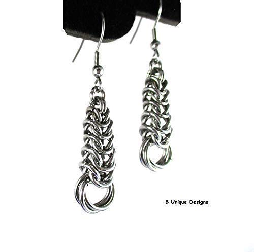 Timeless Byzantine Weave with Chainmaille Flower Earrings Women's Silver Stainless Steel Jewelry Dangle Fashion Handmade Chain mail Mother's Day Gift, Grandmother