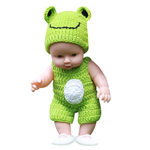 Doll Baby,AmaMary88 1Pcs Cute Baby in Knitted Dress Hat Emulated Doll Soft Children Reborn Baby Doll Toys Boy Girl Great Model for Nursery Teacher Mothers Gynecology Nurse (green)