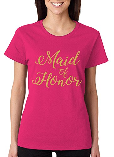 (Maid Of Honor Gold Glitter Women's T-Shirt, SpiritForged Apparel, Pink XL)