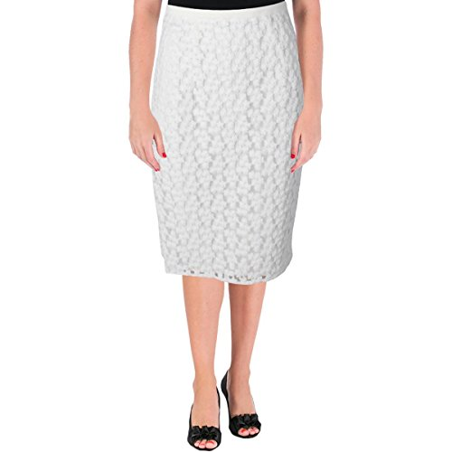 MILLY Womens Floral Embroidered Midi Skirt