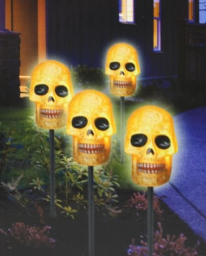 5 Lighted Skull Lawn Stake Pathway Driveway Markers 6 ft (Skull Lawn Stakes)