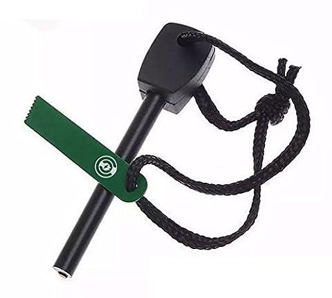 A+ Fire Starter - Magnesium Fire Starter Survival Kit [Flint Striker Bar] Ferro Rod (Ferrocerium) With Metal Knife Rod - Emergency Quick Fire Starters - Survival Kit Camping Tool (Black & Green) (Flint Fire)