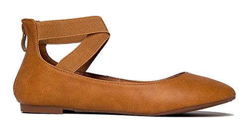J Low Ankle Strap Tan Adams Elastic Cross by Ballet Kelli Shoe Toe Pu Slip On Closed Comfortable Strap UwHvUaqrfP
