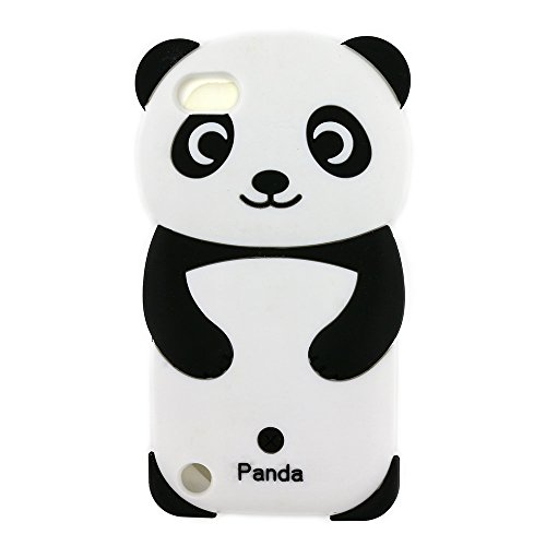 iPod Touch 6 Case, iPod Touch 5 Case, 3D Cute Cartoon Rainbow Panda Animal Shaped Soft Rubber Silicone Shockproof Case Protector Skin Cover for iPod Touch 6th / 5th Generation (Panda) (Ipod 5 Generation Cartoon Cases)