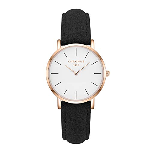 CHRONOS Women Ladies Minimalist Quartz Leather Watches Simple Round Analog Girls Thin Wrist Watches Without Second Hand