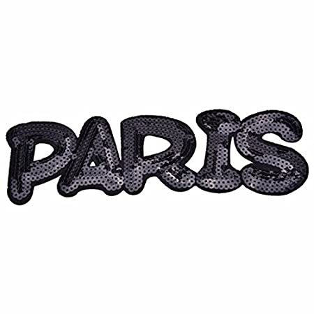 Oyfel Patch Ecusson Brodé Thermocollant Couture Main Coudre Art Lot Paris Noir Blanc