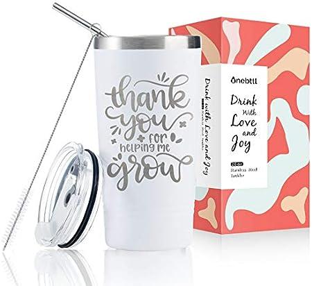 Onebttl Regalo de agradecimiento – Regalo de agradecimiento para empleados, madres, jefes, esposas, hermanas, mejores amigas, 590 ml, copa de vino para mujeres, regalo de cumpleaños, color blanco
