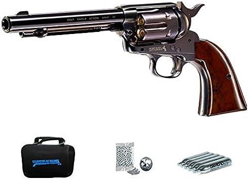 Colt SAA Armmy 45 Pavon 5,5″ | Pack Pistola de balines (perdigones Bolas de Acero BB's) con maletín. Arma de Aire comprimido CO2 Calibre 4,5mm <3,5J