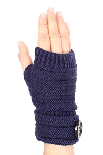 LL Womens Navy Blue Knit Fingerless Glove Hand Warmer Wooden Button Soft (Lady In The Navy Gloves)