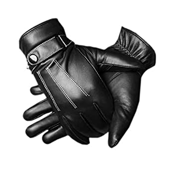 CASF Men's Warm Lambskin Genuine Leather Gloves For Men