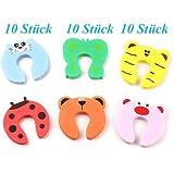 Tinxi - Fermaporta per bambini anti-schiacciamento dita, a forma di animali, confezione da 10 pezzi, svariati modelli assortiti