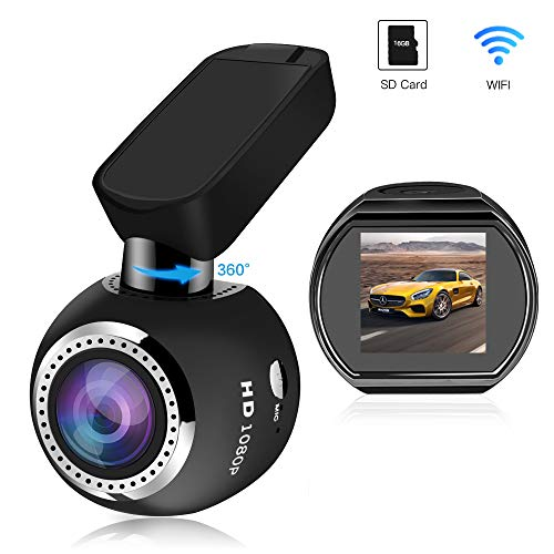 WiFi Dash Camera, SIV Car Dash Cam Full HD 1080P Car Camera Recorder, Car Mini Dash Cam with 1.54″ LCD 170° Wide Angle, 360° Rotate Mount, Sony Sensor, G-Sensor, WDR,Loop Recording(Include TF Card)