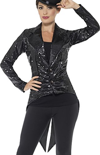 [Sequin Tailcoat Jacket, Ladies Black Medium Uk Dress 12-14] (Sequin Tailcoat Costume)