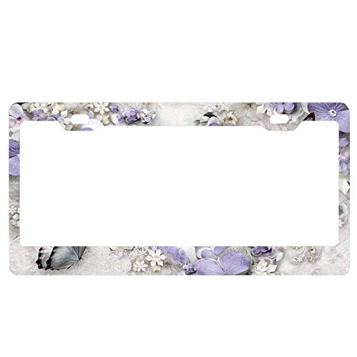 huizehonghong Aluminum Metal License Plate Frame,Personalized License Tag Holder with Screw Caps License Plate Cover for US Vehicles - Lavender Flower Maze