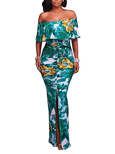 FairBeauty Women Summer Sexy Casual Split Floral Print Strapless Bodycon Cocktail Party Long Maxi Dress]()