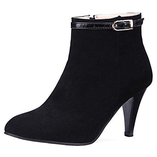 Damen Zipper COOLCEPT Boots Bootie Schwarz Hd5qq8wB7