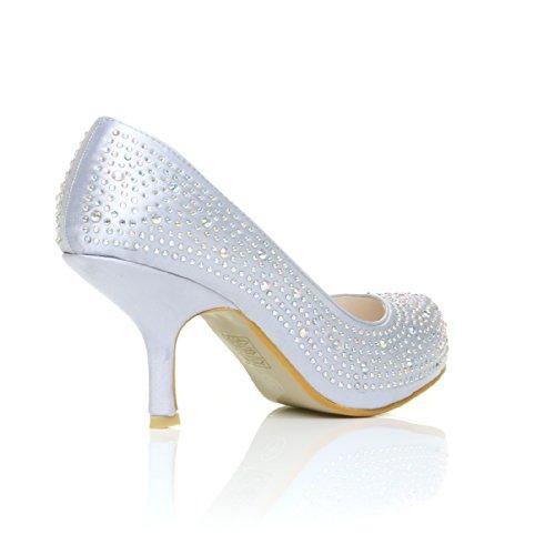 Zapatos Shuwish De Silver Raso Plata Mujer Uk Plateado Vestir Para Satén Satin ZqAw5qrx