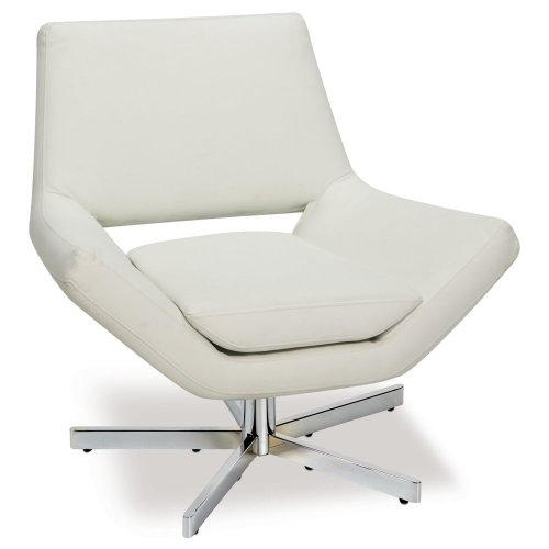 AVE SIX Yield Modern 31-Inch Wide Lounge Chair in Faux Leather with Chrome Finish Base, White (Swivel Lounge Chair)
