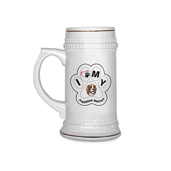 Custom Beer Mug I Paw My Pyrenean Mastiff Dog Ceramic Drinking Glasses Beer Gifts White 18 OZ Design Only 1