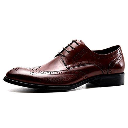 Yr Officiel D'affaires Pour Chaussures En Hommes Cuir Derbys Banquet Redbrown Hommes r Occasionnels Garçon Véritable Brogue Chaussures Travail U0arUx