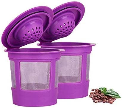 Maxware 2 Reusable Refillable Coffee Filters For Keurig Family 2.0 and 1.0 Brewers Fits K200, K300/K350/K360, K450/K460, K500/K550/K560/K575 (Purple, 2) 41BXUrE7pfL