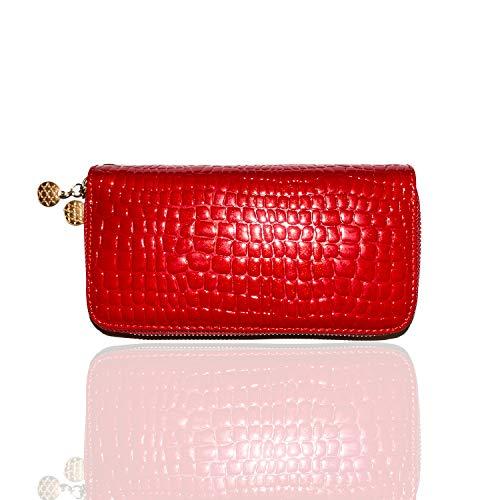 Carter Leatherworks Drip Women's Wristlet Wallet Clutch Purse Dual Zippers PU Alligator High Gloss Finish (Rari Red)