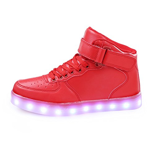 Children's Womens Red Rechargeable Top Sneakers Mens Boys Unisex up SAGUARO High TM Girls Day Light LED Shoes for f7WZ0In