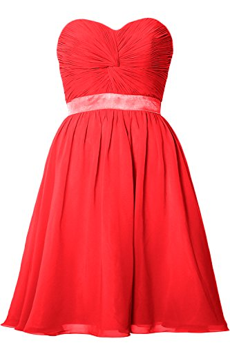 MACloth Women Strapless Lace-up Short Bridesmaid Dress Wedding Party Gown Rojo