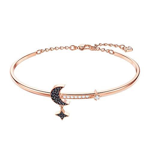 SWAROVSKI Crystal Duo Moon Black Rose Gold-Tone Bangle (Star Moon Bracelet)