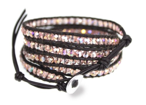 Silver Jewelry Monaco Iridescent Pink - Peach Sparkling Bead Brown Leather 5x Wrap Bracelet In Gift Box