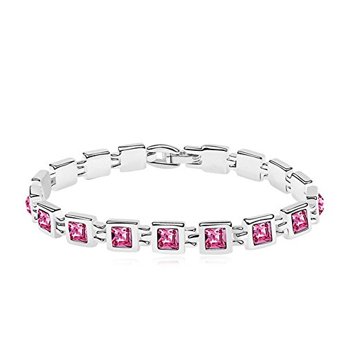 RIZILIA Tennis Bracelet & Princess Cut Crystal [Simulated Pink Sapphire] in White Gold Plated, 7