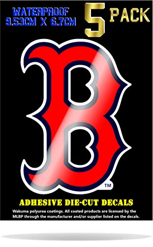 Wakuma, Boston Red Sox Vinyl Decal Sticker Set. 2.7 x 3.8 inch 5 Pack