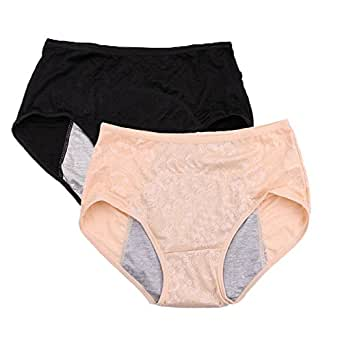 Women Menstrual Period Briefs Jacquard Easy Clean Panties US Size 3XL/10 Black Nude