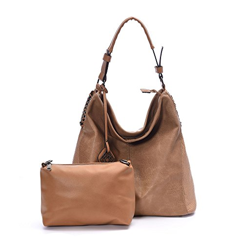 DDDH Women Handbags Hobo Shoulder Bags Tote Leather Handbags Fashion Large Capacity Bags(Apricot)