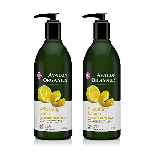 Avalon Organics Glycerin Hand Soap Lemon With Lemon Essential Oil, Chamomile, Aloe and Vitamin E, 12 fl oz (355 ml) (Pack of 2) ()