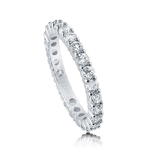 BERRICLE Rhodium Plated Sterling Silver Cubic Zirconia CZ Anniversary Eternity Band Ring Size 6 (Pave Stackable Ring)