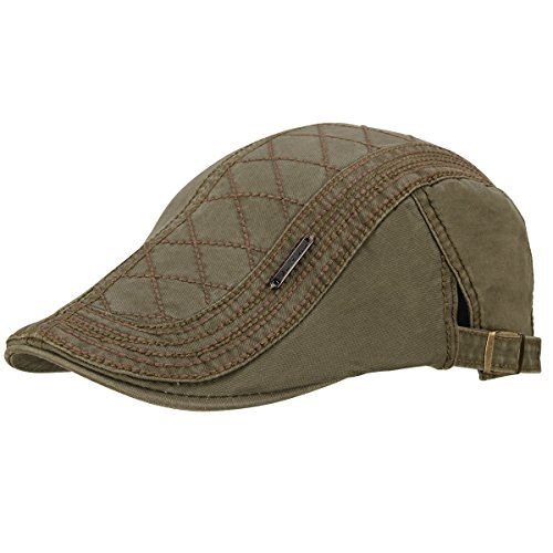 OMECHY Men's Cotton Flat Newsboy Cap Cabbie Ivy Duckbill Irish Cap Gatsby Driving Golf Beret Hat Army Green
