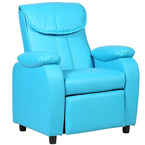 GentleShower Padded PU Leather Kids Recliner with Overstuff Armrest/Headrest, Contemporary Children Reclining Sofa Upholstered Chair for Living Room Bedroom (Blue)