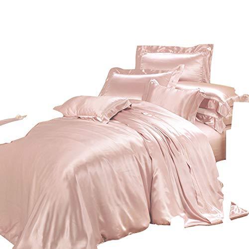 THXSILK Silk Duvet Cover Set 4 Piece, Silk Sheets, Luxury Bedding Sets - Ultra Soft, Machine Washable, Durable - 100% Top Grade Mulberry Silk (Queen, Charming Pink) ()