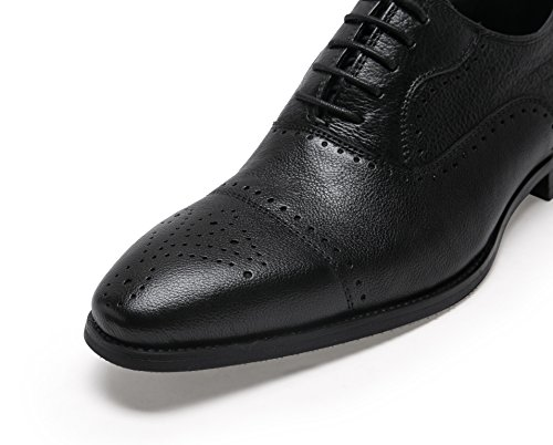 VIP Men's Leather 1 AROW Black SHENBO Genuine Loafers 7BqZSnw5