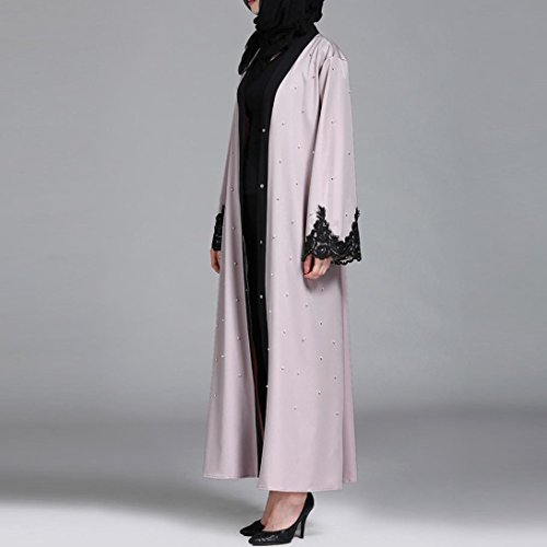 Islamic Muslim Women Full Sleeve Clothing Lace Splicing Long Coat Middle East Long Robe (M) by Conina (Image #2)